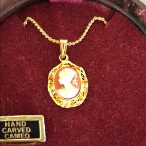 Vintage Hand Carved Cameo Necklace